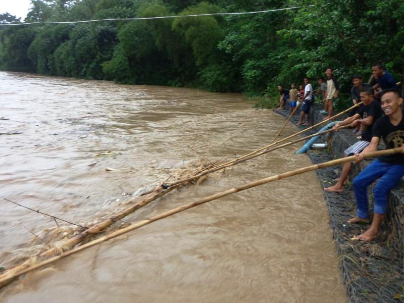 Warga Grumbul Kalibeber Desa Darmakradenan beramai- ramai mencari kayu bakar saat banjir datang, Senin (02/05) . Miftah Ahmad untuk Kabar Desa