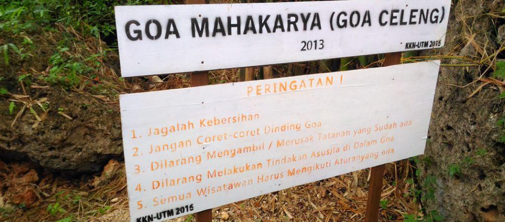 Peraturan memasuki Gua Celeng (Mahakarya) / Foto : Firmansyah